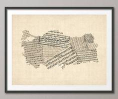 Turkey Map, Turkey Old Sheet Music Map, Art Print (2809) by artPause on Etsy