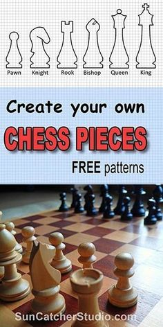 your own unique chess set. You play chess with six different pieces: pawns, rooks, knights, bishops, and kings. To create your Chess Bars, Chess Squares, Queen Chess Piece, How To Play Chess, Bois Diy, Wood Carving Patterns, Scroll Saw Patterns, Cross Patterns, Art Patterns
