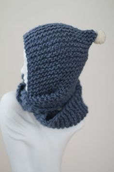 Blue Hand Knit Wool Snood