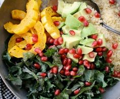 Quinoa, Kale, Squash & Pomegranate Salad - Dinner With Julie Spinach Salad With Chicken, How To Cook Quinoa, Cooked Quinoa, Pomegranate Salad, Roasted Squash, Winter Salad, Ripe Avocado, Salad Ingredients, How To Make Salad