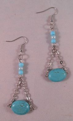 Turquoise Bead and Chain Drop Earrings