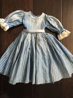 Antique Vintage Indigo Blue Doll Dress Late 1800's