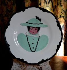 1950's Two Decorative Wall Hanging Plates with Felt Man and Woman in Victorian Clothing by BuffaloGalVintage on Etsy