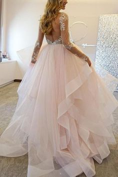 Elegant A-Line Bateau Long Sleeves Tulle Wedding Dresses With Appliques-Pgmdress