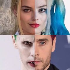 Split #harleyquinn and Margot Robbie #joker and Jared Leto. Waiting patiently for the movie. #batman