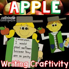 This Johnny Appleseed craft and writing activity will be perfect for teaching your class about Johnny Appleseed and using a cute craft to showcase student writing. Blackline masters for the craft as well as multiple prompts and line options are included. Apple Activities, Autumn Activities, Writing Activities, First Grade Themes, Art Classroom, Classroom Ideas, Johnny Appleseed, Directed Drawing, Teaching First Grade