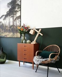 my scandinavian home: A Dutch home gets a green make-over with a half-painted wall #halfpaintedwall # credenza #midcentury