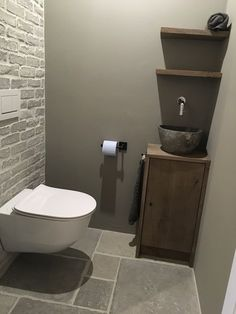 Toilet cabinet custom made of oak with hard stone bowl. - Toilet cabinet custom made of oak with hard stone bowl. Space Saving Toilet, Small Toilet Room, Guest Toilet, Downstairs Toilet, New Toilet, Toilet Sink, Modern Bathroom Sink, Bathroom Toilets, Bathroom Design Small