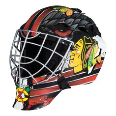 Franklin Sports GFM 1500 NHL Goalie Face Mask - Show off your official NHL colors by playing street hockey in this Franklin Sports GFM 1500 NHL Goalie Face Mask . This goalie face mask comes in your. Hockey Helmet, Hockey Goalie, Football Helmets, Soccer, Ice Hockey, Nhl Chicago, Chicago Blackhawks, Blackhawks Hockey, Chicago Bears
