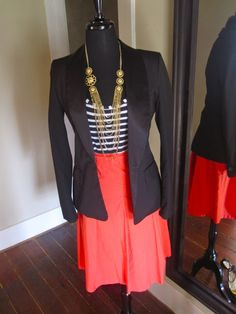 love this combo some bright blue or mustard color flats would make this perfect!!