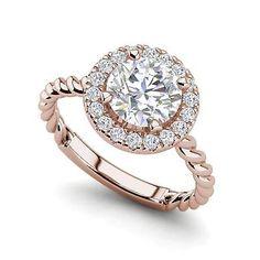 Pave Halo Twist 0.9 Carat VS1/F Round Cut Diamond Engagement Ring Rose Gold
