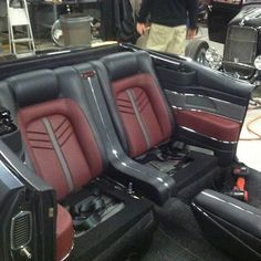 70 chevelle convertible custom interior burgundy black and grey. red door panels console aluminum chrome