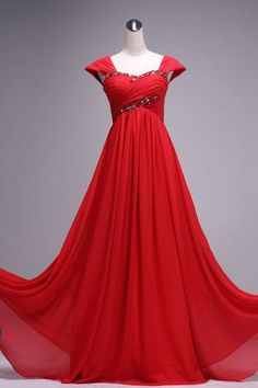 Red Floor Length Gorgeous Sweetheart Prom Dress With Beadings, Red Prom Dresses, Prom Gown, Evening Dresses, Red Bridesmaid Dresses
