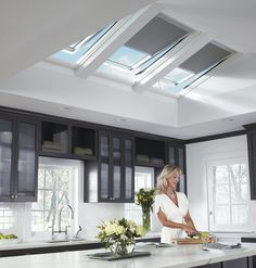 Our VELUX Sun Tunnel (tubular skylight) delivers natural lighting to small, hard to reach spots and is quick and easy to install. Find useful and cheap sun tunnels with VELUX. Timber Ceiling, Home Ceiling, Roof Design, House Design, Blockout Blinds, Roof Window, Solar, Roof Light, Home Improvement Projects