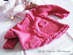 Cardigan neonata in puro cotone lavorato ai ferri di Lady Bijoux Handmade su DaWanda.com