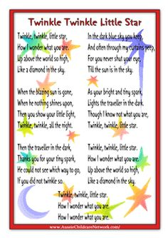 Twinkle Twinkle Little Star and other nursery rhyme posters Nursery Rhymes Lyrics, Nursery Rhymes Preschool, Nursery Rhymes Songs, Kindergarten Songs, Preschool Songs, Preschool Worksheets, Twinkle Little Star Song, Kids Poems, Children Songs