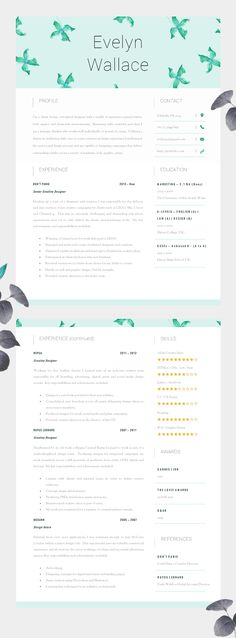 Resume Template \/ CV Template -  - resume page layout