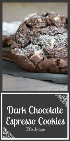 Recipe for Double Dark Chocolate Espresso Cookies at 31Daily.com More