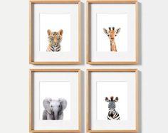 Neutral-Kindergarten-Dekor Set von 3 drucken Baby Tiere