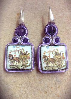 Soutache earrings, sicilian cart