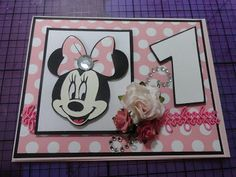 Minnie Mouse - 1st Birthday Card | ... At Studio D