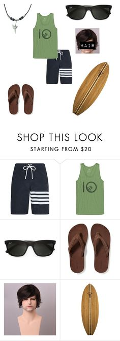 """""""Adam Jackson (OC)"""" by skye-plays-too-many-video-games ❤ liked on Polyvore featuring Thom Browne, tentree, Ray-Ban, Old Navy, Totally Bamboo, men's fashion and menswear"""