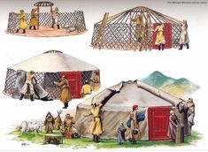 The making of a traditional Mongolian ger. A traditional yurt (from the Turkics) or ger (Mongolian) is a portable, round tent covered with skins or felt and used as a dwelling by nomads in the steppes of Central Asia. Genghis Khan, Mongolian Ger, Yurt Home, Yurt Living, 3d Home, Thinking Day, Central Asia, Nepal, Gazebo