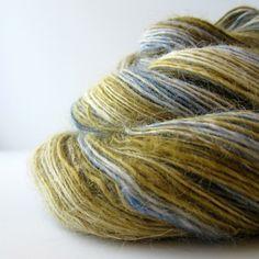Handpun Yarn Wensleydale Wool Single Ply 348 by OnTheRound