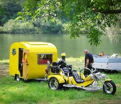 Now, this is style!! Love the 3 wheeler and the camper ~ yellow!! For when I get to go visit the grandkids! Will probably use a small car tho, not the trike