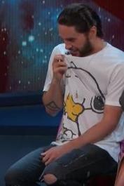 Jared Leto wearing Ksubi Van Winkle Lock N Load and Gucci Washed T-Shirt with Peanuts Print