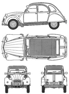 1979 Citroen 2CV Hatchback blueprint.
