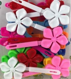 Assorted Color Flower Kids Barrettes Neon Flowers, Girls Accessories, Primary Colors, Dark Blue, Natural Hair Styles, Braids, Toddler Hairstyles, Orange, Red