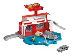 Hot Wheels Team Hot Wheels Super Spin Carwash PlaysetThis set celebrates the classic car wash theme with a twist: side-by-side racing along with push-around play. Vehicles can drive in for a wash rin...