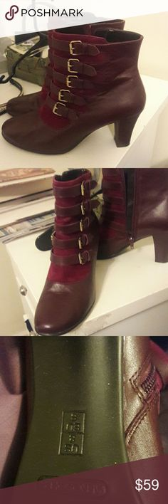 Aerosol ankle boots with multiple buckles These are gorgeous. A beautiful burgundy color brass color buckles. These are comfortable, only worn once. They look great with jeans or can be worn dressy. Shoes Ankle Boots & Booties