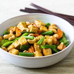 Cashew, Tofu, Carrot, and Snow Pea Stir-Fry