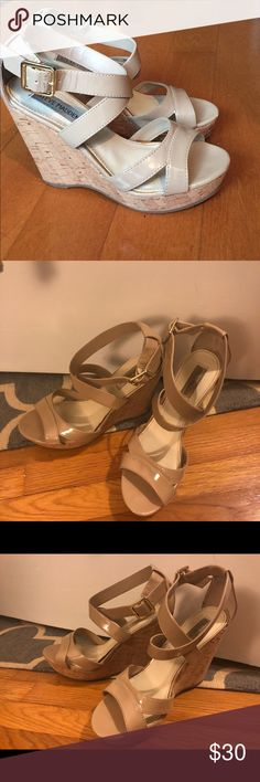 Serve Madden nude patent wedges Nude patent wedges. Color in my photos is a bit dark due to bad lighting. Worn approximately 10 times. Steve Madden Shoes Wedges