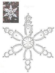 Misc motifs, snowflakes, etc - Снежинки; May 2011 - lee ann hamm - Picasa-verkkoalbumit Crochet Snowflake Pattern, Crochet Stars, Crochet Motifs, Crochet Snowflakes, Crochet Diagram, Thread Crochet, Crochet Doilies, Crochet Flowers, Crochet Stitches