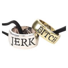 Supernatural Jerk Bitch Ring Necklace Set Hot Topic ❤ liked on Polyvore featuring jewelry