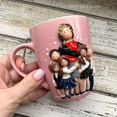 Cute Polymer Clay, Polymer Clay Dolls, Polymer Clay Crafts, Diy Clay, Handmade Polymer Clay, Polymer Clay Jewelry, Biscuit, Teachers Day Gifts, Clay Cup
