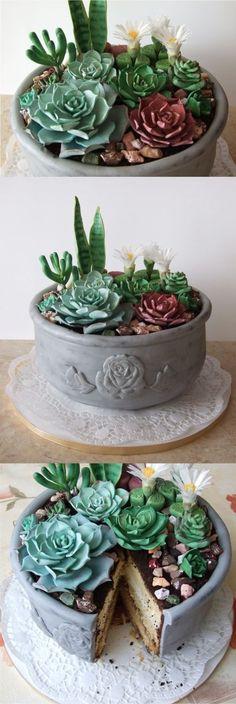 Succulent cake for mom. chokolate cobble , sugar succulents and oreo loam. , Succulent cake for mom. chokolate cobble , sugar succulents and oreo loam. Fancy Cakes, Mini Cakes, Cupcake Cakes, Pretty Cakes, Cute Cakes, Cupcakes Succulents, Succulent Cakes, Birthday Cake For Mom, Birthday Cupcakes