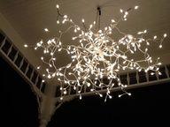 Overhead light using little white Christmas lights.