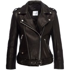 Anine Bing Cropped Moto Jacket ($1,099) ❤ liked on Polyvore featuring outerwear, jackets, coats & jackets, leather jackets, black, leather, leather moto jacket, leather motorcycle jacket, cropped moto jacket and genuine leather biker jacket