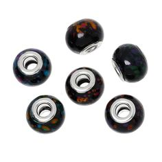DoreenBeads European Charm Glass Beads Drum Black At Random About 15mm( 58) x 11mm( 38),Hole: Approx 5mm,10 PCs 2015 new