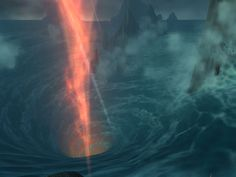 the heavily disturbed Maelstrom whirlpool caused by Deathwing's cataclysm, located in the center of Azeroth
