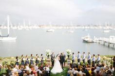 Lawn Ceremony by San Diego Bay | Photography: Luke & Katherine Griffin for Max & Friends. Read More: http://www.insideweddings.com/weddings/tent-wedding-with-chic-nautical-theme-on-la-playa-bay-in-san-diego/737/