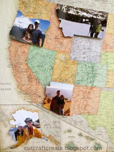 1. Visit state. 2. Take pictures in said state. 3. Cut them out in the shape of said state, and adhere to map. Great idea.