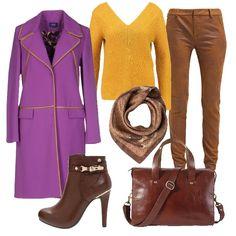 Il giallo del maglione autunnale scalda il pantalone marrone dal tessuto morbido e comodo. Inoltre si abbina perfettamente ai bordini luminosi del cappotto dal colore particolare, che sta bene a tutte. Non occorre rinunciare alla borsa capiente in cuoio avendo lo stivaletto dal tacco a spillo che esprime tanta femminilità. Irrinunciabile il foulard funzionale ed elegante.
