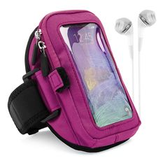 VG Zippered Hardcore Workout Armband for Samsung Galaxy S6 Edge Plus + / Note 5 / Note 4 / S6 Active / S6 / S5 / Note Edge with White Headphones, Purple. Zippered layer pouch provides absolute protection ensuring your phone will never fall out. Smart pocket included inside allowing you to store keys, id, credit cards, or cash. Velcro elastic loop holds and stores earphones for personal use whenever required on the outside. Safety Strap secures phone in place while working out keeping you...