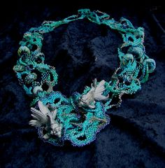 Coral Coves turquoise seed bead freeform peyote by familyonbikes