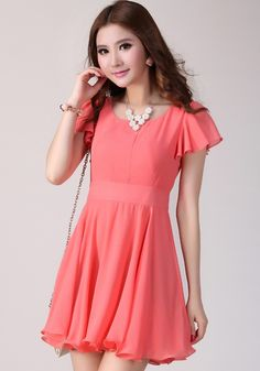 Orange Plain Short Sleeve Wrap Chiffon Mini Dress